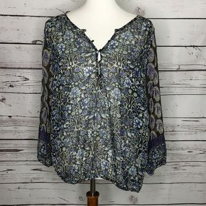 Lucky brand Womens Sz Large Floral Semi Sheer Top